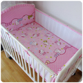 Promotion! 5PCS Mesh hello kitty Cotton Baby Bumper Bedding Set Cartoon Crib Bedding Set ,include(4bumpers+sheet)