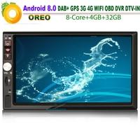 7 HD двойной Din Android 8,0 Авторадио Стерео gps Satnav Wi Fi 4 г TPMS DAB + DVR DTV IN OBD2 Радио BT USB SD Bluetooth SatNav