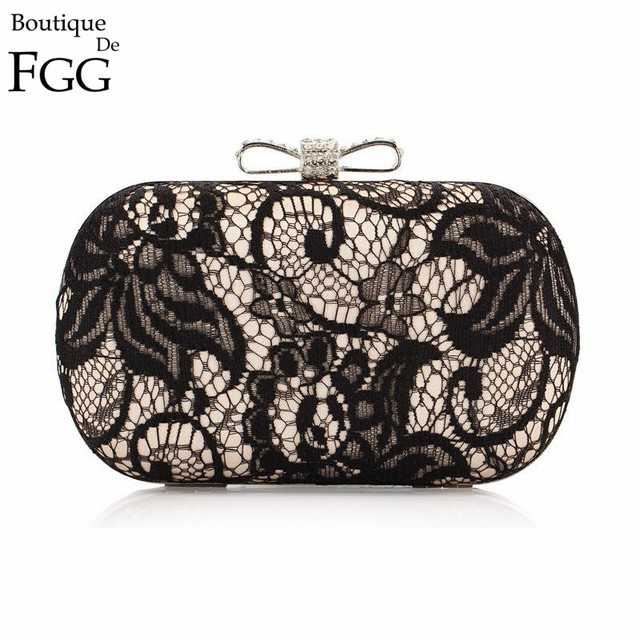 Korean Brand Women Crystal Lace Satin Bow Metal Clutches Gold & Black Hard Case Evening Wedding Party Dinner Handbag Clutch Bag