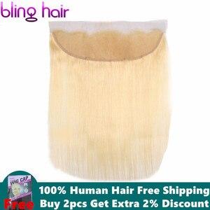 Image 1 - Bling cabelo 613 loira em linha reta fechamento do cabelo brasileiro 13x4 fechamento frontal do laço midlle/livre/três parte 100% remy cabelo humano