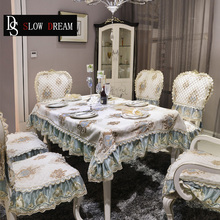 SLOWDREAM European Style Table Cloth Round Square Rectangle Chair Seat And Back Cover Luxury Lace Jacquard Nordic Covers