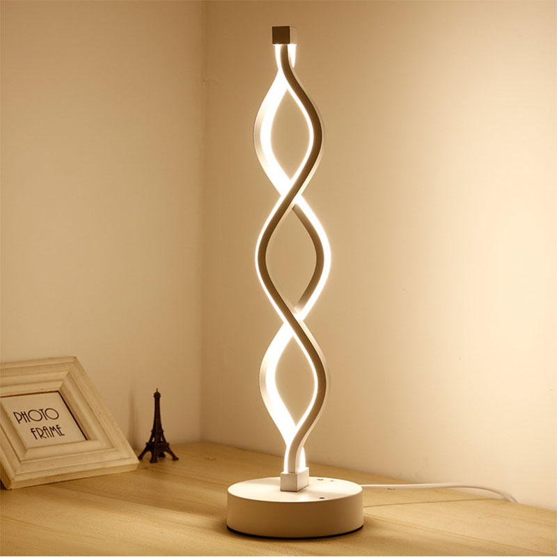 Moden Night Light Minimalist Acrylic Metal LED Desk Lamp table Lamp Waterwave Design Soft Lighting Home Bedroom Decoration Lamp
