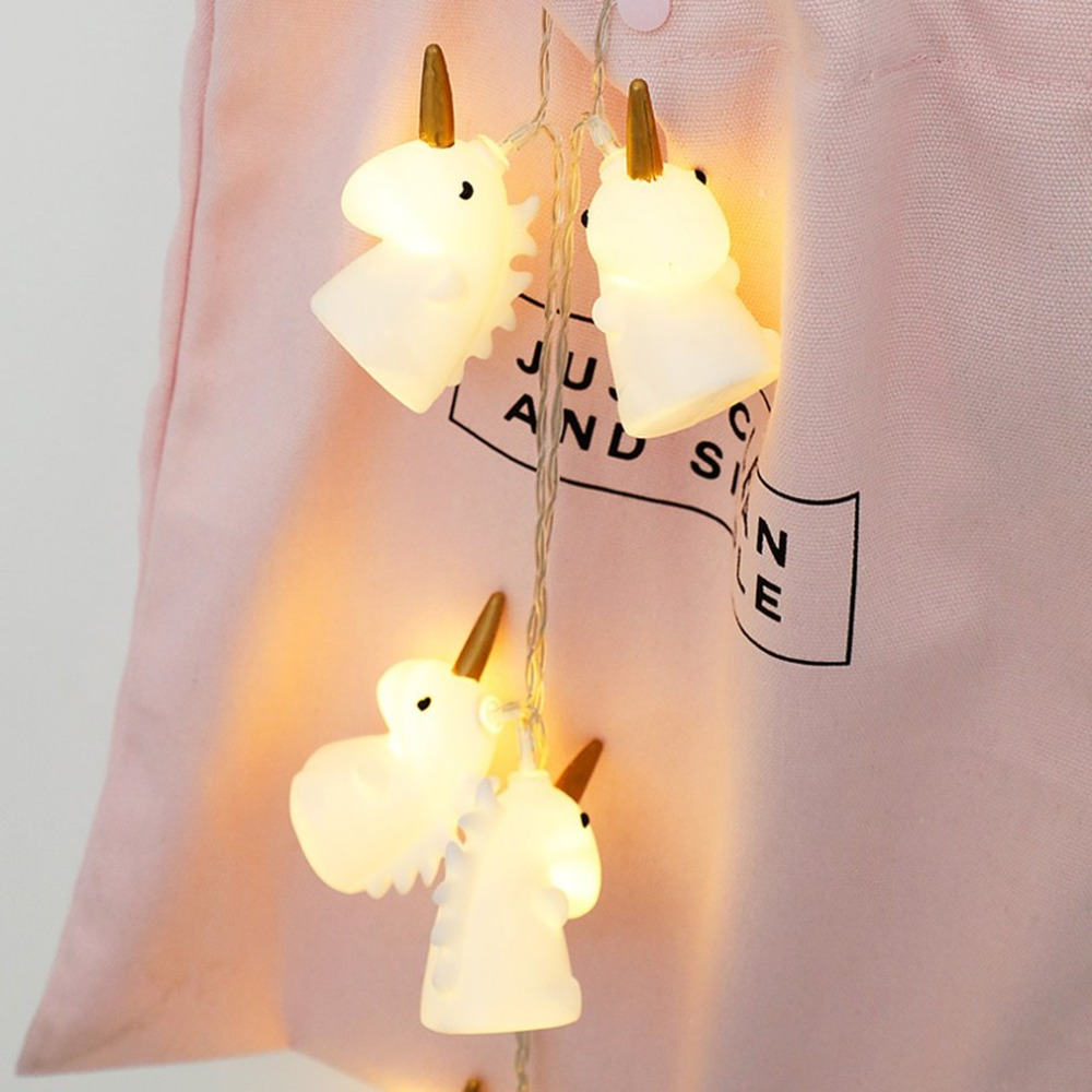10LED/20LED unicornio de la secuencia Luz de Navidad luces decoración de fiesta adornos de pared 1,5 m/3 m de Garland luces de hadas