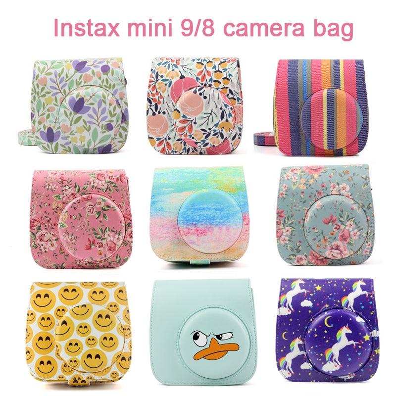 Fuji Fujifilm Instax Mini 9 Mini 8 Cámara bolsa de cuero de la PU cámara instantánea accesorios bolso de hombro Protector de la cubierta caso correa
