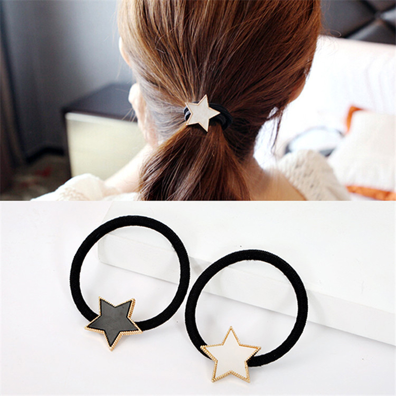 Simple Metal Star Hair Rope Women Elastic Hair Band Girls   Headwear   Scrunchy Headbands Trendy Alloy Stars Hair Accessories
