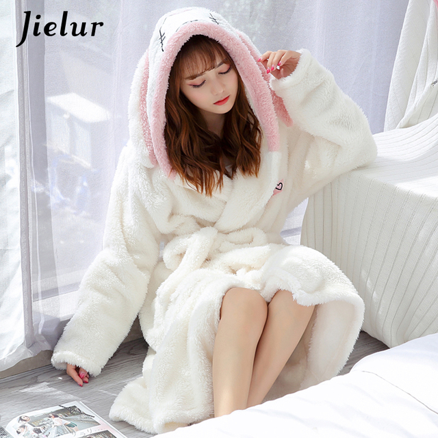 Jielur Coral Velvet Bathrobe Women Cartoon Cute Warm Hooded Robe Ladies Casual Rabbit Flannel Kimono Bath Robes Dressing Gowns 1