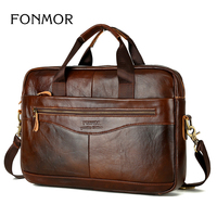 FONMOR Stylish Genuine Leather Men Briefcase High Quality Brand Cowhide Business Bag Multi Function Large Capacity