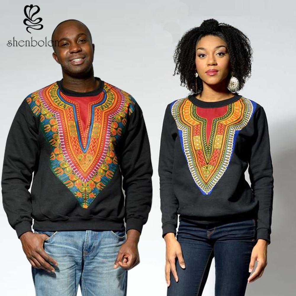 2016 fashion african clothing Cotton splicing dashiki batiks black long sleeve tops Sweater couples dress men and women can wear