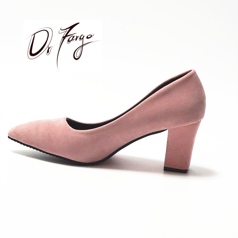 DRAFRGO Women's Pink Shoes 7,5 cm Block Heel Sexet Kvindepumper Summer EUR 34 -39 Mujer Zapato Office Low Heel Femme Chaussure
