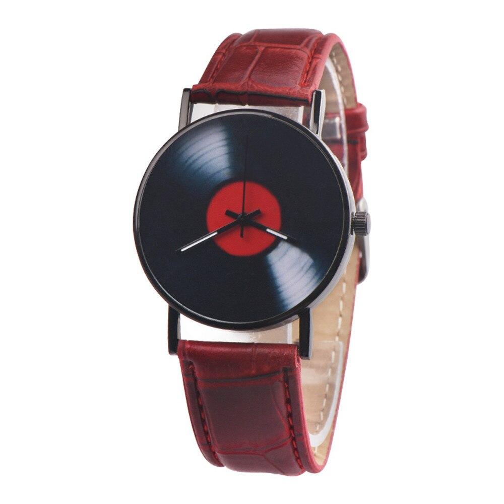 Creative Vinyl Records Fashion Design Men Women Unisex Casual Retro Leather Band Analog Alloy Quartz Wrist Watch Clock New P50