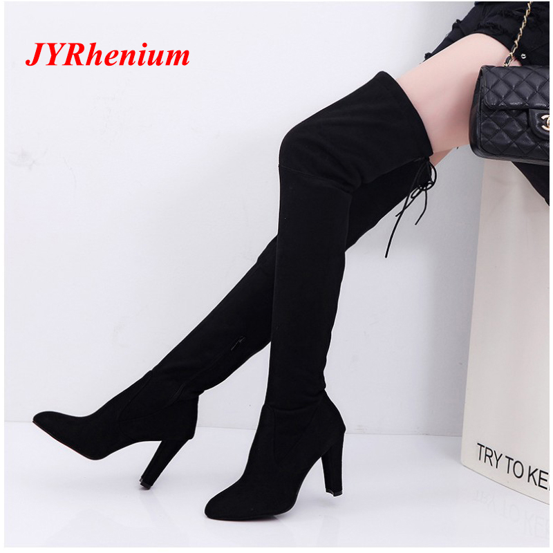 JYRhenium 2018 New Flock Leather Women Over The Knee Boots Lace Up Sexy High Heels Women Shoes Lace Up Winter Boots Warm Size new women sexy lace up knee high boots high square heels women boots winter snow boots casual shoes woman large size 34 46