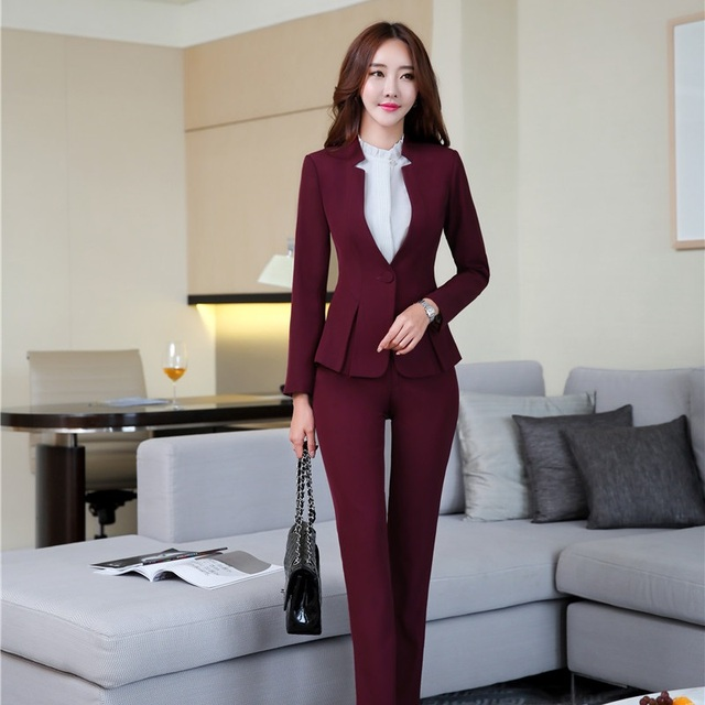 a461a9a48ede Elegant Maroon Red Uniform Designs Formal Professional Pantsuits With Tops  And Pants Ladies Pants Suits 2018