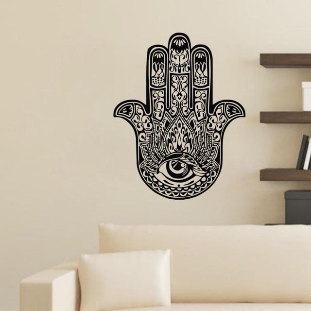 hand van fatima muurstickers indian boeddha lotus vinyl stickers woondecoratie slaapkamer muurdecoratie hamsahand