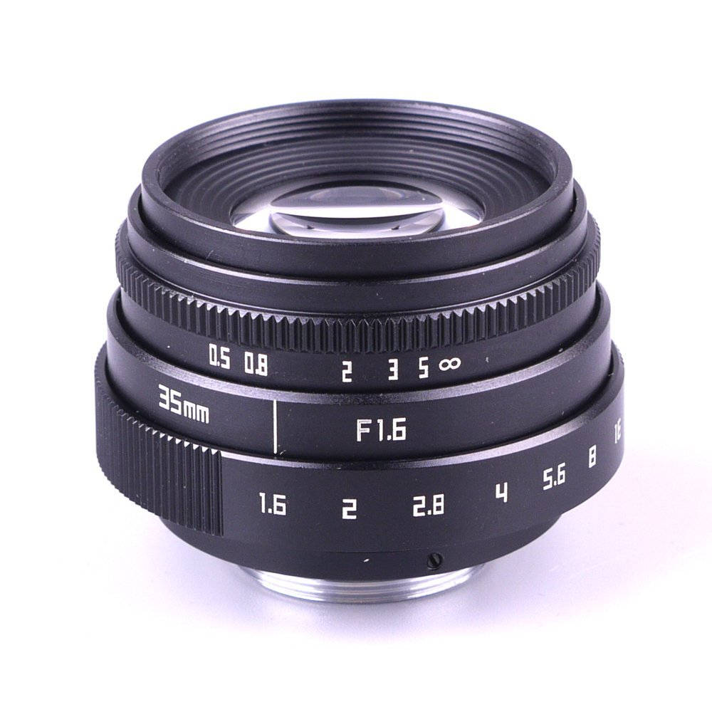 New Arrival Mini 35mm f1.6 C mount camera CCTV Lens II For Olympus Panasonic Micro 4/3 Camera & Adapter Bundle Black image