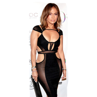 High Quality Sexy Club Dress Mesh Patchwork Black Bandage Bodycon Dress Womens Sexy Dresses Party Night
