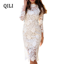 купить QILI White Lace Dress For Women Long Sleeve Elegant Floral Lace Bodycon Dresses Evening Party Club See Through Dress Autumn New по цене 1068.51 рублей