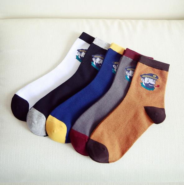 Autumn And Winter Fashion Men Cotton Socks Casual Cartoon Police Men Socks Solid Color Breathable Absorbent Thick Socks