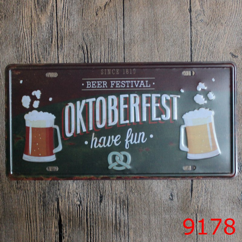 Beer Festival Car License Plate Oktoberfest Have Fun Vintage Tin Signs Bar Pub Home Kitchen Wall Decor Retro Metal Art Poster