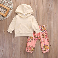 Floral Newborn Baby Girl Hooded Tops Hoodies Long Pants 2pcs Outfits Clothes Set