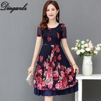 Dingaozlz New Elegant Printed dress New fashion Summer Dress Mid length Short sleeve Women Casual Chiffon dress Plus size 5XL