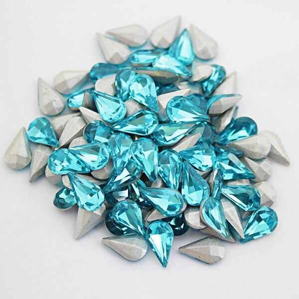 6x10mm Aquamarine Non Hotfix Rhinestone Teardrop Pointback Crystal Rhinestones Glass Stones Nail Art Gems decoration