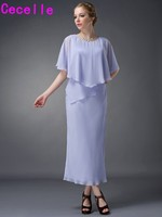 Tea Length Lavender Sheath Tiered Chiffon Mother Of Bride Dresses Calf Length Beach Wedding Party Dresses For Bride's Mother