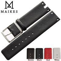 MAIKES New Watch Band Strap Genuine Leather Black White High Quality Watchbands Case For CK Calvin