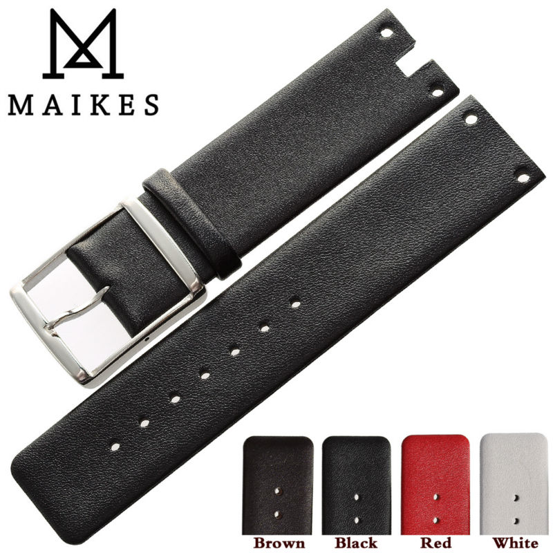 MAIKES New Watch Band Strap Genuine Leather Black White High Quality Watchbands Case For CK Calvin Klein K9423101 And K9423107