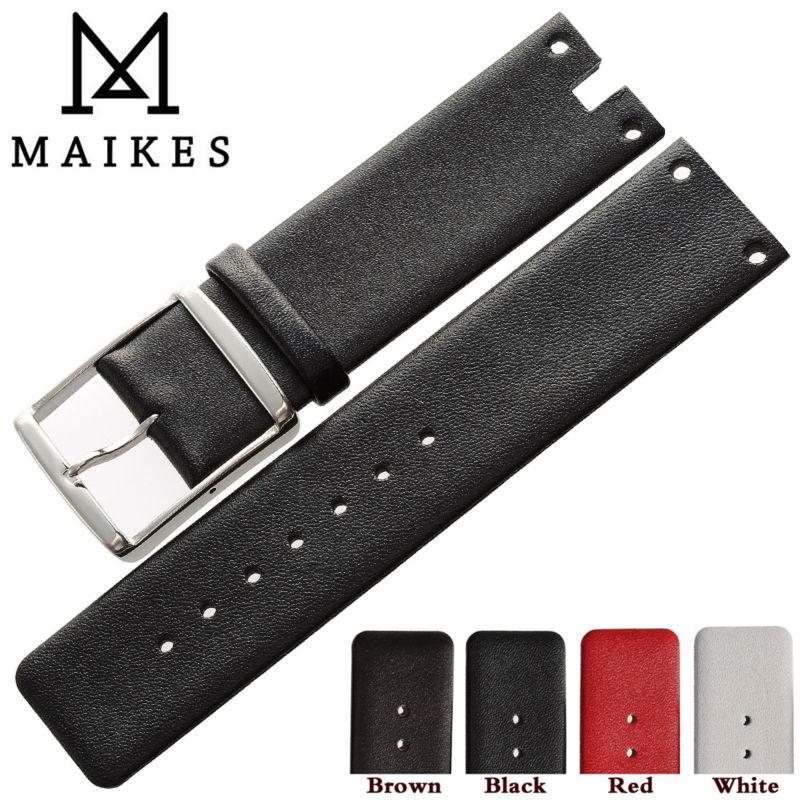 Prix pour MAIKES Nouvelle Bande de Montre Bracelet En Cuir Véritable Noir Blanc Haute Qualité bracelets Cas Pour CK Calvin Klein K9423101 et K9423107