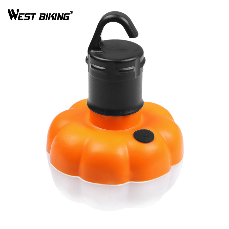 WEST BIKING Portable Outdoor Camping Equipment Tent Hanging Lamp Pumpkin Lantern LED Light Fishing Camping Lights Outdoor Tools
