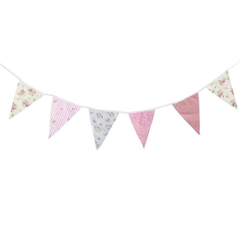 10M Pennant Flags Banner Bunting Cotton Fabric Bunting Decoration Wedding Banner Garland Bunting Party Decor Baby Shower Decor