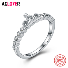 Brand New Real 925 Sterling Silver Fine Wedding Boutique Jewelry Ring Crown AAA Crystal Zircon For Women