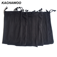 Kachawoo 100PCS sunglasses reading glasses carry bag for glasses black soft pouch customized with own logo whosale