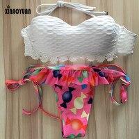 2017 BIKINI Swimwear Women Padded Fringe Bandeau Bikini Set Push Up Bikini Roupa De Praia New
