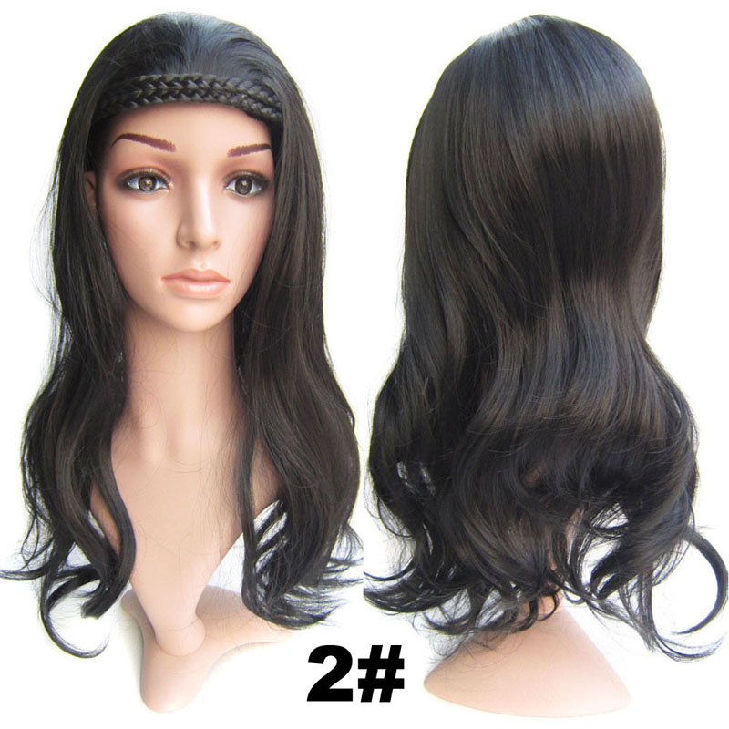 #2 Dark Brown Synthetic Hair Natural Wigs Medium 22inch 55cm 210g Wig Fall Wavy Heat Resistant Fiber 16Colours Available