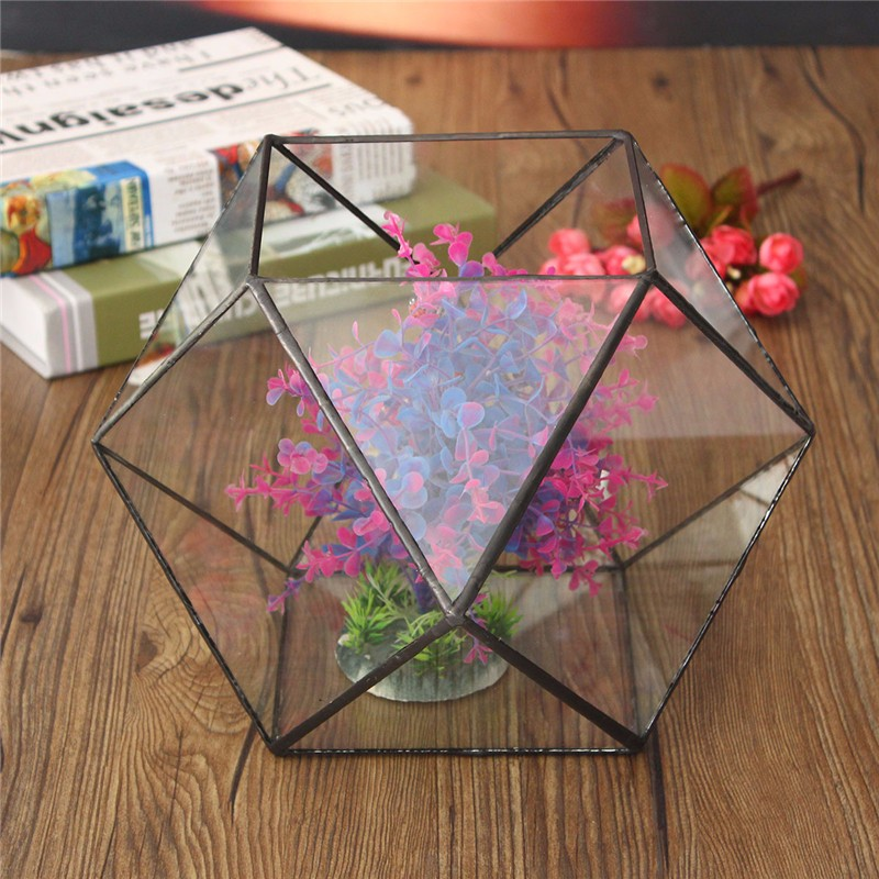 Modern artistic glass Irregular Glass Geometric Terrarium Container Box Tabletop Succulent <font><b>Plant</b></font> Planter Vase Garden Decoration