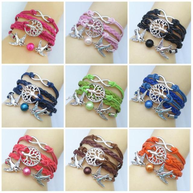 b86b123e73 NEW Hot Sell Fashion Infinity Personality Tree Smart two flying birds  Leather Cute Charm Bracelet