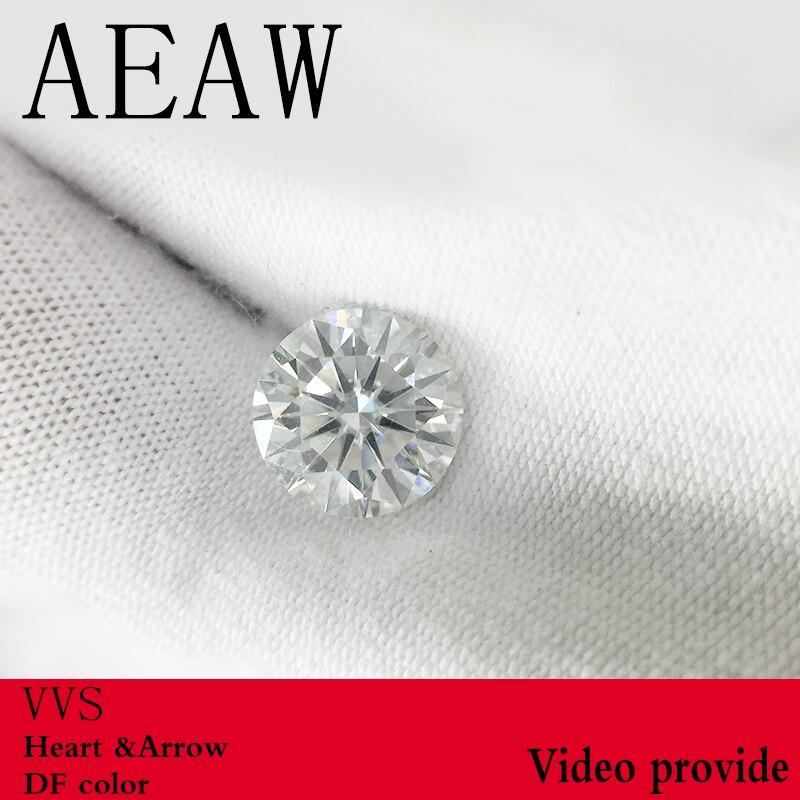 AEAW Carat Rodada Brilliant Cut 2ct 8.0mm F Cor Moissanite Pedra Solta VVS1 Excelente Corte Grau Test Lab Positiva diamante