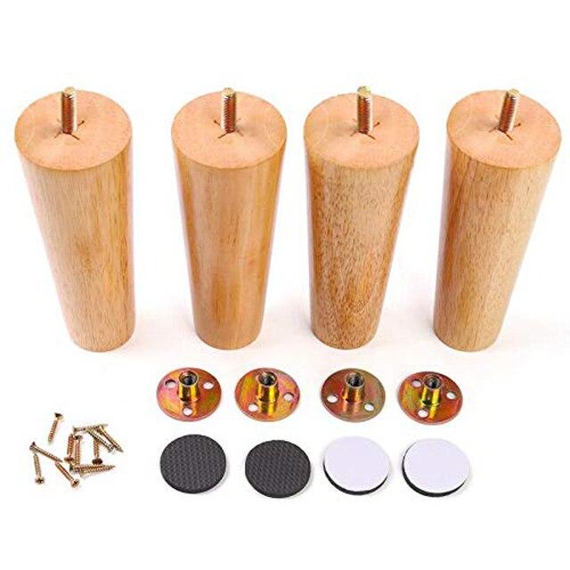 רגלי רהיטים מוצק עץ ספה החלפת רגל עבור קפה שולחן קבינט, 100% אלון, סט של 4