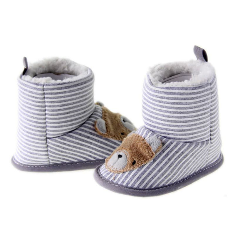 Autumn Winter Warm Baby Boys Girls Lovely Cartoon First Walkers Knitted Crib Babe Toddler Shoes
