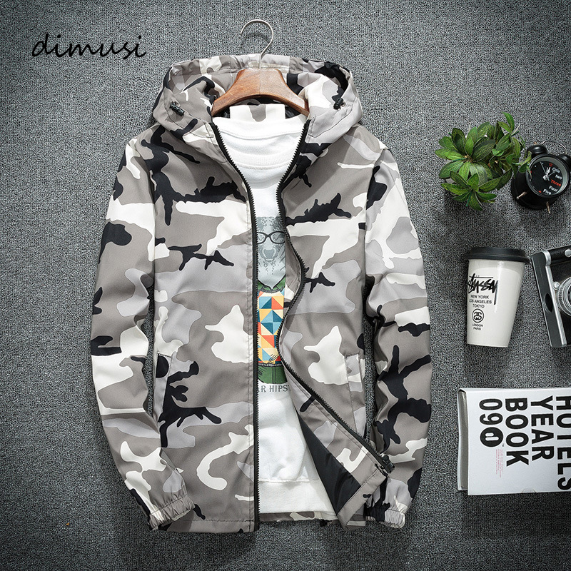 DIMUSI Mens Jackets Spring Men Casual Windbreaker Camouflage Hooded Coats Mens Fashion Slim Hip Hop Bomber Jackets Clothing 5XL