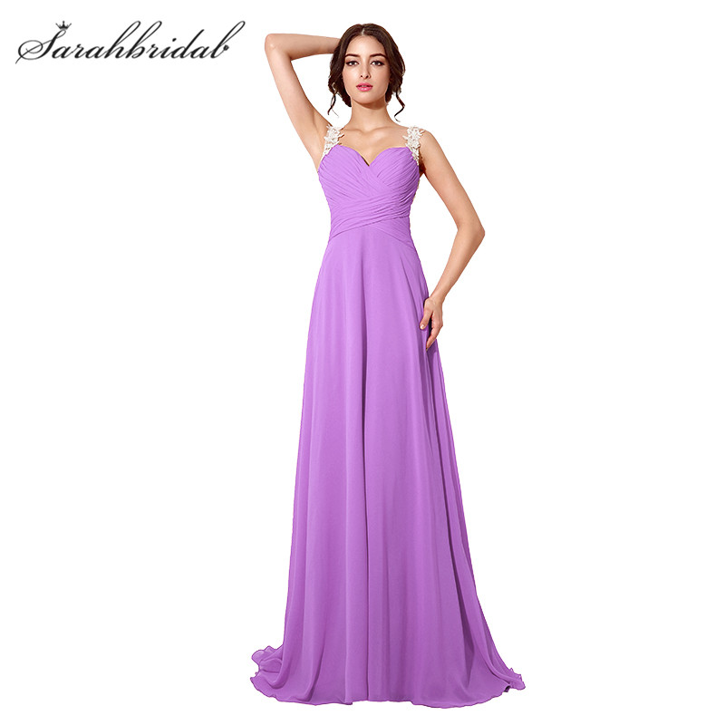 Sexy Simple Long Prom dresses With Sweetheart Lace Back A Line Chiffon Prom Gowns Party Dress