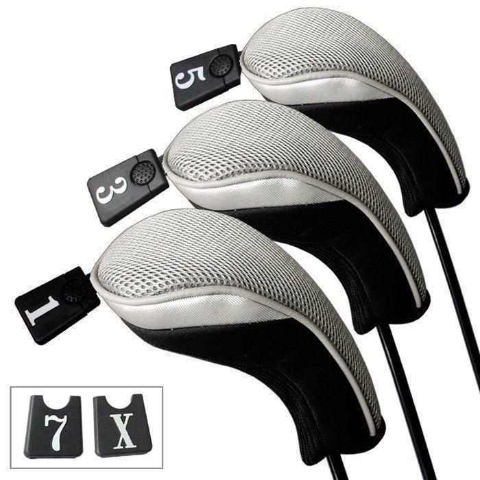 3個ソフト1 3 5ウッドゴルフクラブドライバーヘッドカバーヘッドカバーセット-グレーブラックゴルフウッド5ヘッドカバー