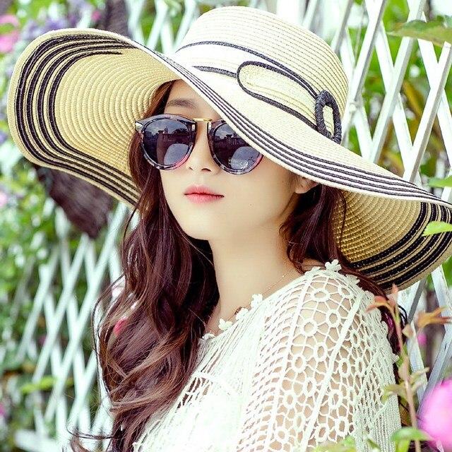 2017 summer large brim straw hat adult women girls fashion sun hat uv  protect big bow chapeau paille beach kentucky derby hats cf1224cfc638
