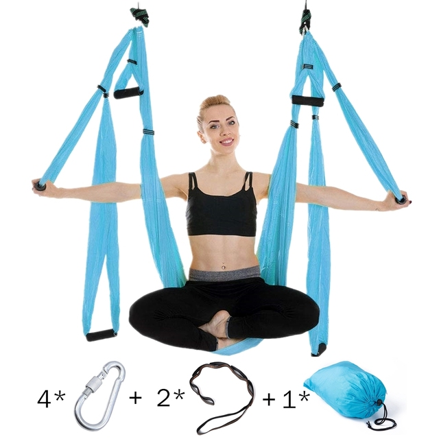 Anti gravity Aerial Yoga Hammock Set Multifunction Yoga Belt Flying Yoga Inversion Tool for Pilates Body Shaping with Carry Bag