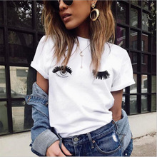 Casual 2019 Cute T-shirts Wink Eyes And Eyelashes Printed Women Tops Short Sleeve Tshirts Cotton White O Neck Summer Blusas New