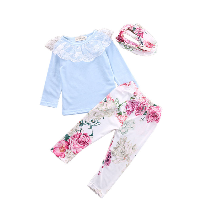 0-3Y Newborn Baby Girls Clothes Infant Toddler Kids Long Sleeve Lace Top Shirt + Flower Pant + Headband 3pcs Outfit Clothing Set pink newborn infant baby girls clothes short sleeve bodysuit striped leg warmers headband 3pcs outfit bebek clothing set 0 18m