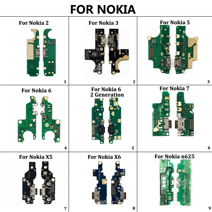 USB Charging Port Dock Jack Socket Connector Charge Board Flex Cable With Microphone For Nokia 3 2 5 6 7 Plus  X5 X6 N625