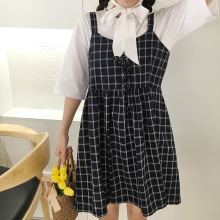 Summer Preppy Style Cute Loose Casual Plaid Simple All Match Female Dresses