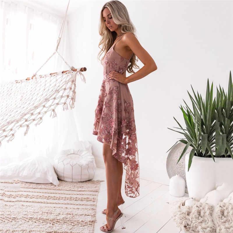 7ad68c96aed2 ... Sexy irregular Pink Lace Summer Dress vestidos de fiesta Women Dress  Sexy Floral Print chiffon Dress ...